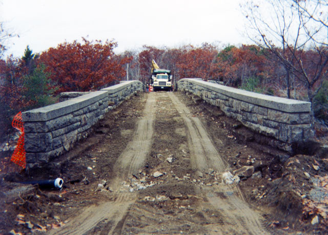Restoration of Carriage Roads in Acadia National Park, excavation, dirt, stonework, dump truck, construction